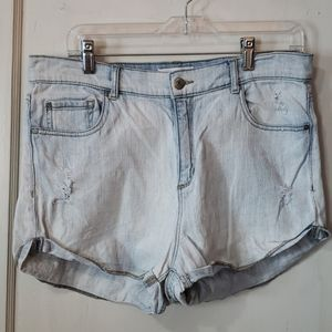 Garage High Waisted Lightly Distressed Jean Shorts